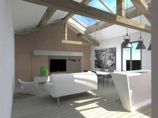 Creation d'un appartement dans les combles d'une maison existante Salon moderne par SARL A-RCHITECTURA Moderne