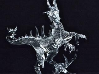 Dragon en verre clair fabriqué à la main.:  de style  par Aéva (Atelier Ecole de Verrerie d'Art)