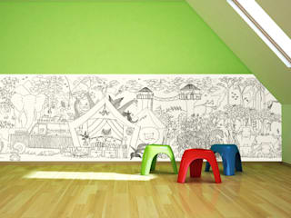 Half Wall Colour In Wallpaper by Funwall