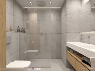Minimalistyczna łazienka Nowoczesna łazienka od Luxum Nowoczesny