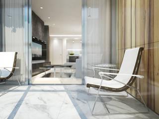 Y.F.architects minimalist style balcony, porch & terrace