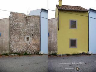 Rendering restauro vista prospetto posteriore.: Case in stile  di PUNTIX STUDIO