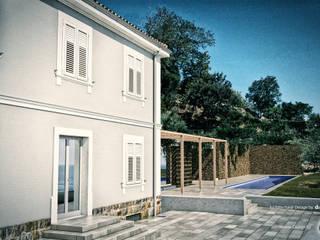 Restauro e ampliamento_Vista casa restaurata + ampliamento: Case in stile  di PUNTIX STUDIO