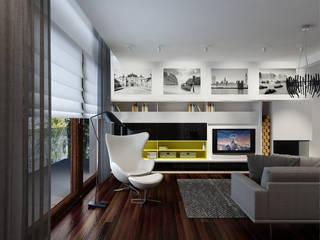 Projekt wnętrz domu jednorodzinnego Nowoczesny salon od Projektowanie Wnętrz Krzysztof Ziółkowski Nowoczesny