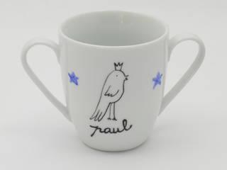 Ensemble de naissance en porcelaine oiseau roi garçon (assiette + tasse + cuillère) personnalisable:  de style  par Judith Leviant porcelaines
