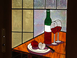 Porte de cuisine Vitrail et miroir :  de style  par Atelier du vitrail Monique Copel