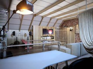 Мансарда с мужским характером Рабочий кабинет в стиле лофт от Дизайн-студия 'Эскиз' Лофт