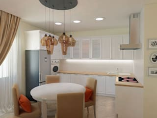 Трехкомнатная квартира в ЖК Премьер-2 в г.Екатеринбург Кухня в скандинавском стиле от Дизайн-студия 'Эскиз' Скандинавский
