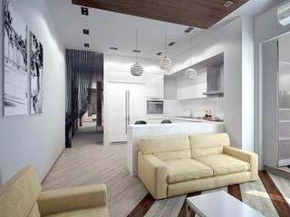 Трехкомнатная квартира в стиле минимализм Гостиная в стиле минимализм от Дизайн-студия 'Эскиз' Минимализм