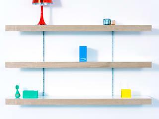 Oak shelving with silver anodised aluminium wall fixings:   by ON&ON