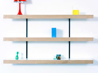 Oak shelving with black wall fixings:   by ON&ON