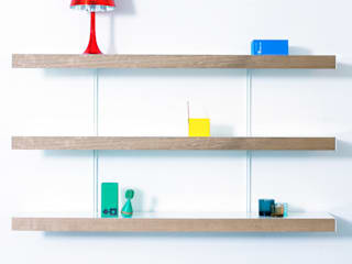 Oak shelving with white wall fixings:   by ON&ON