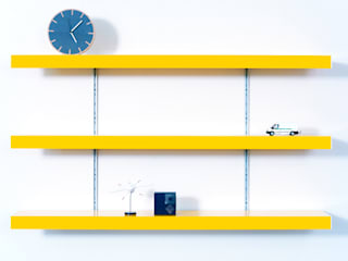 Colour shelving with silver anodised aluminium wall fixings:   by ON&ON