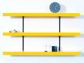 Colour shelving with black wall fixings:   by ON&ON