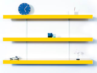 Colour shelving with white wall fixings:   by ON&ON