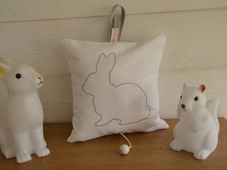 Boîte à musique Lapin personnalisable Fesse de Rat Chambre d'enfantsAccessoires & décorations Coton Blanc