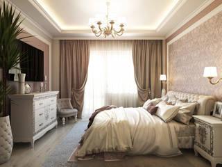 Проект 021: ванная + спальня + кабинет: Спальни в . Автор – студия визуализации и дизайна интерьера '3dm2', Минимализм