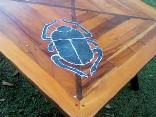 Mesa comedor hecha con madera reciclada y piedra. Comedores rústicos de MuebleArte Rústico