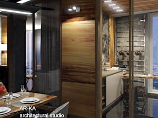 LUX Лофт на Мосфильмовской Кухня в стиле лофт от AR-KA architectural studio Лофт