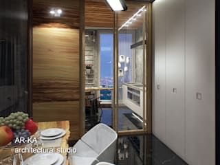LUX Лофт на Мосфильмовской Столовая комната в стиле лофт от AR-KA architectural studio Лофт