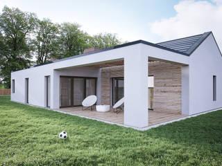 PROJEKT DOMU JEDNORODZINNEGO: styl nowoczesne, w kategorii Domy zaprojektowany przez Kunkiewicz Architekci