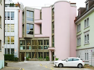 Ansicht von der Quartierstrasse West:  Häuser von Käferstein & Meister   Dipl. Architekten ETH BSA SIA