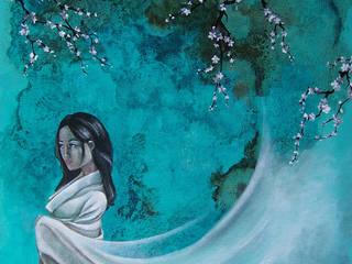 tableau décoration, la femme au kimono.:  de style  par l'atelier de Cassandre