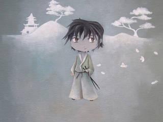 """tableau pour enfant,""""les japonais"""" le garçon samouraï :  de style  par l'atelier de Cassandre"""