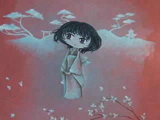 """tableau pour enfant, """"les japonais"""" la fillette au kimono.:  de style  par l'atelier de Cassandre"""