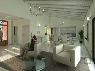 Interior living comedor vivienda  Barrio Santina: Casas de estilo clásico por Estudio de Arquitectura y Diseño Feng Shui