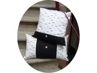 Housse de coussin noir et blanc géometrique et petite étoile blanche CF Decoration MaisonAccessoires & décoration