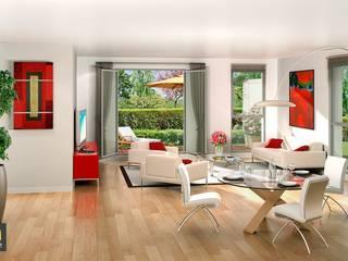 Perspective 3D immobilier - Séjour:  de style  par 3Dgraphiste.fr