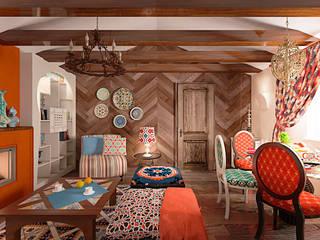 Salas de estilo rural de студия Виталии Романовской Rural