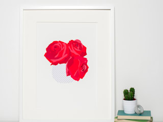 Modern Red Roses Art Print:   by Sweet Oxen