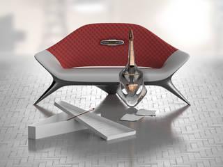 Ledersofa auf Kunststoffbasis mit Metalleffekt: moderne Wohnzimmer von ThomasCleverDesign
