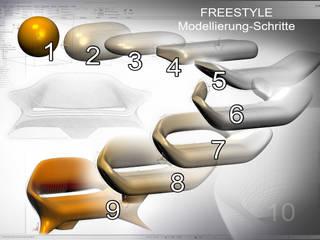 Entwicklungsschritte des Design-Sofas mit dem Freestyle-Tool des CAD-Programmes Creo:   von ThomasCleverDesign