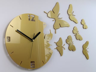 Zegar ścienny Motyle  - Gold: styl , w kategorii  zaprojektowany przez ModernClock