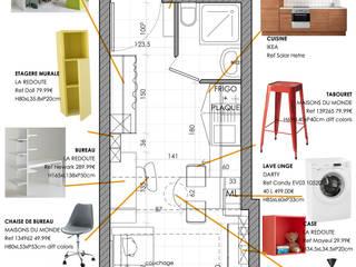 Aménagement d'un studio de 18m²:  de style  par Adeline Guillemot