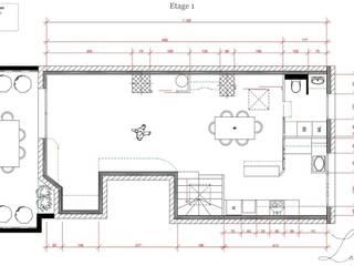 Plan de l'etage : Salle à manger de style  par Agence architecte intérieur Paris