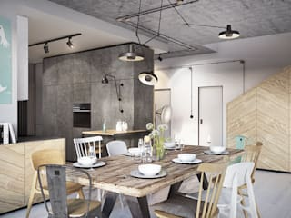 razoo-architekci Industrial style dining room