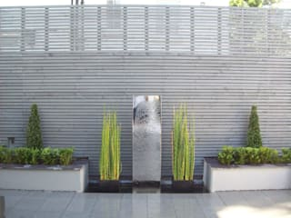 Stainless Steel Metal Water Feature Unique Landscapes Jardines de estilo moderno
