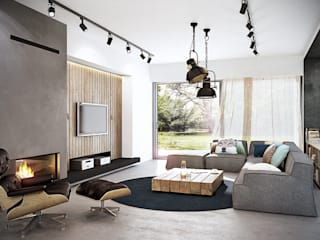 razoo-architekci Industrial style living room