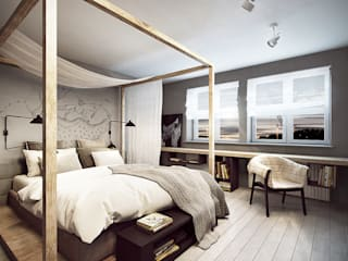 razoo-architekci Scandinavian style bedroom