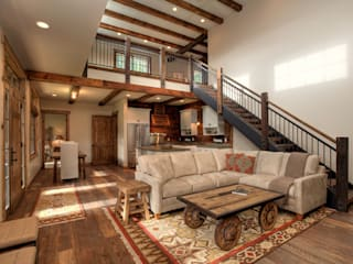 Lucky 4 Ranch Rustic style living room by Uptic Studios Rustic