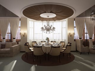 студия визуализации и дизайна интерьера '3dm2' Comedores de estilo clásico Beige