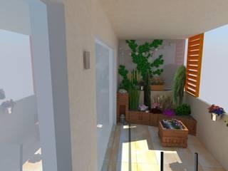 Loggia - projekt zieleni Klasyczny balkon, taras i weranda od ARCHITEKTONIA Studio Architektury Krajobrazu Agnieszka Szamocka -Niemas Klasyczny