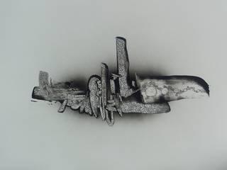 TOTEM Tableau peinture minimaliste noir et blanc, zen, loft abstrait Guenzone ArtObjets d'art