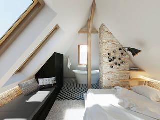 Wrocław / Gaj, poddasze dwupoziomowe - 112m2: styl , w kategorii Sypialnia zaprojektowany przez razoo-architekci