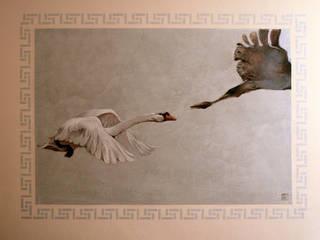 Murales Airone parete est : oca e gru giapponese: Paesaggio d'interni in stile  di ELISA POSSENTI ART