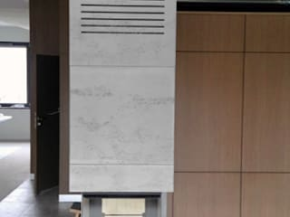 Architectural concrete as housing fireplace Modern living room by Luxum Modern